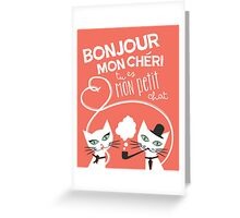 Bonjour Love Cat Print Greeting Card