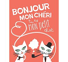 Bonjour Love Cat Print Photographic Print
