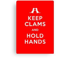 Keep Clams and Hold Hands (Otters Holding Hands) Canvas Print