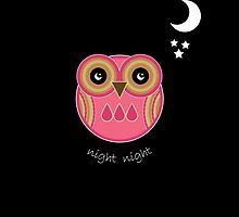 Night Night Pink Owl Card by Louise Parton