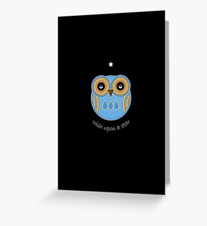 Wish Upon A Star Blue Owl Card Greeting Card