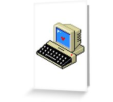 8 BIT Computer - Love Heart Greeting Card