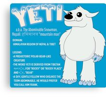 Yeti With Title Canvas Print