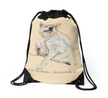 Cute funny dog scratching art with humorous slogan Drawstring Bag
