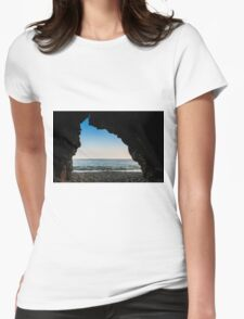 Charlestown Beach Cave,South Cornwall Womens Fitted T-Shirt