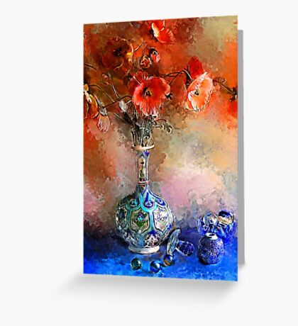 Poppies and Glass Marbles Greeting Card