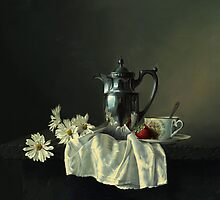 Game of silk and silver with a red strawberry by Antonov