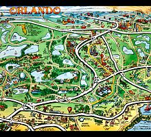 Orlando Florida Cartoon Map CARD by Kevin Middleton