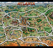 Atlanta Georgia Cartoon Map CARD by Kevin Middleton