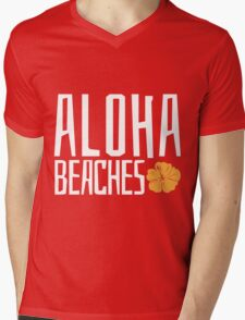 Aloha Beaches Mens V-Neck T-Shirt