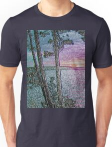 Lake Sunset-Colour Embossed -Available As Art Prints-Mugs,Cases,Duvets,T Shirts,Stickers,etc Unisex T-Shirt