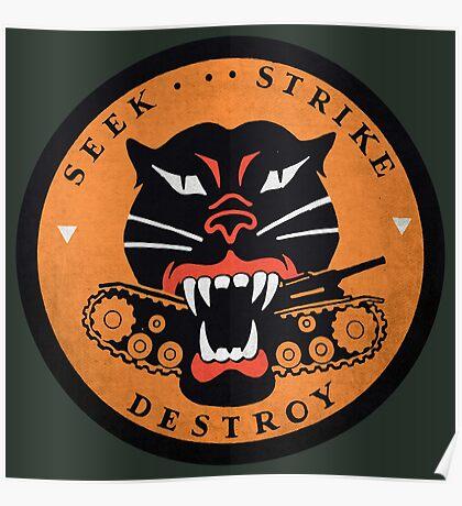 Seek Strike Destroy Tank Destroyer Emblem Poster