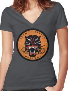 Seek Strike Destroy Tank Destroyer Emblem Women's Fitted V-Neck T-Shirt