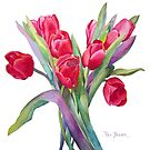 Springtime Red Tulips! by Pat Yager