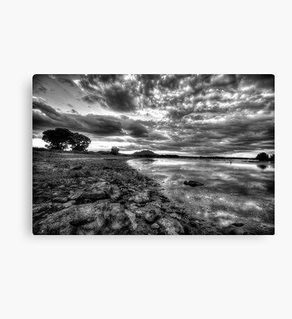 Up the Shoreline-B+W Canvas Print