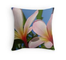 White & Pink Frangipani Glow-(Duo)-(Landscape) Throw Pillow