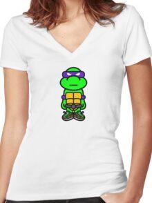 Purple Renaissance Turtle Women's Fitted V-Neck T-Shirt
