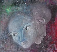 Painting of faces by Carolyn Stringer