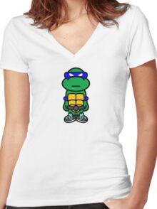 Blue Renaissance Turtle Women's Fitted V-Neck T-Shirt