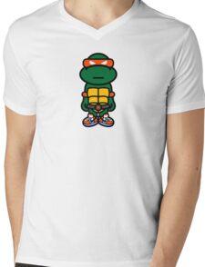 Orange Renaissance Turtle Mens V-Neck T-Shirt