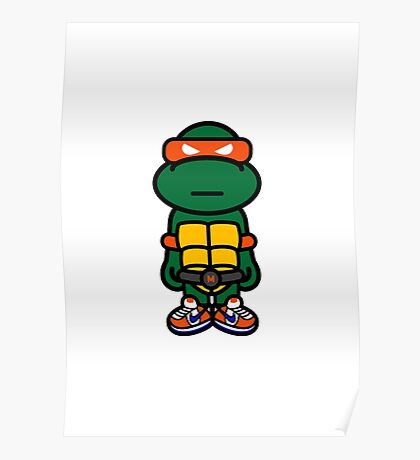 Orange Renaissance Turtle Poster