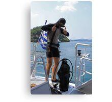 Grecian Scuba Diver Canvas Print