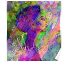 Glowing abstract watercolor portrait Poster