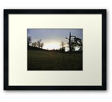 sunset, Falkland (trees, field with molehills, fence) Framed Print