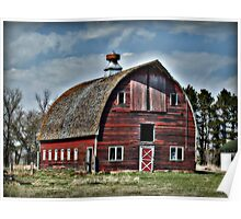 Abandoned Red Barn with Blue Sky Poster