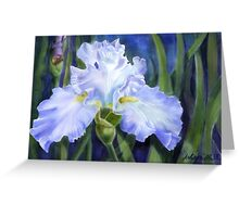 Blue Ruffles -digital watercolour of a pale blue ruffled Iris Greeting Card