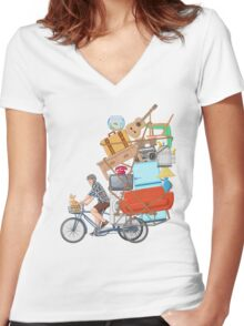 Life on the Move Women's Fitted V-Neck T-Shirt