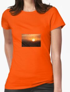 Water Droplets During Sunset Womens Fitted T-Shirt