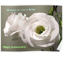 Peony Roses Wedding Anniversary Card Poster