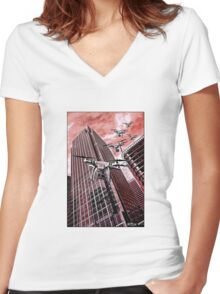 Red swarm over Canary Wharf by #fftw Women's Fitted V-Neck T-Shirt