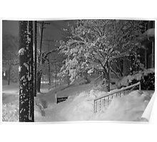 High Street Snow Scene Poster