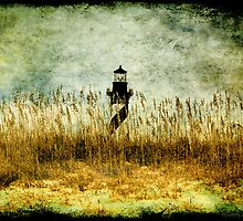 Hatteras Light over sea oats by Jacque Gates