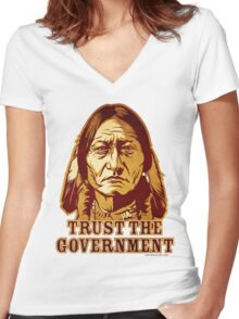 Trust The Government Sitting Bull Edition Women's Fitted V-Neck T-Shirt