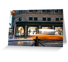 Saks 5th Avenue with Taxi...itsablurr Greeting Card