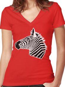 Zebra Head Women's Fitted V-Neck T-Shirt