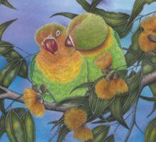"""""""Two Aussie Love Birds"""" Sticker"""