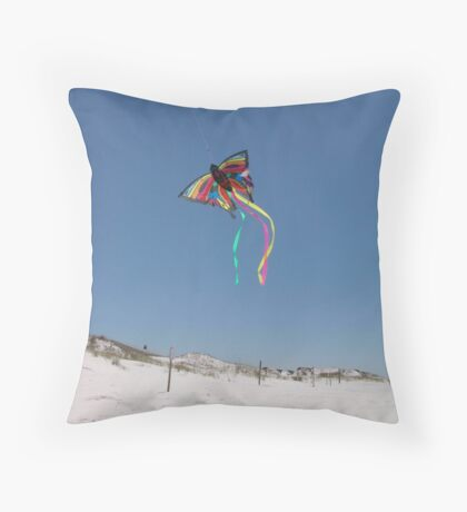 Butterfly Kite and Dunes Throw Pillow