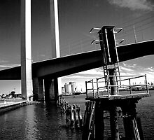 Bolte Bridge and warning lights by Andrew Wilson
