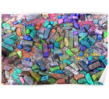 Pastel Chalks- sea tones Poster