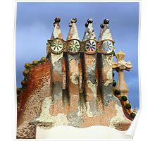 Tiled sculptures, Roof, Casa Batllo, Gaudi Poster