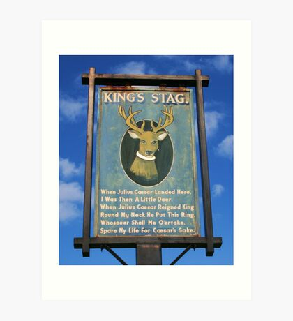 The King's Stag Sign Art Print