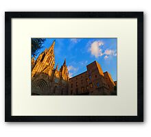 Warm Glow Cathedral - Impressions Of Barcelona Framed Print