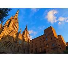 Warm Glow Cathedral - Impressions Of Barcelona Photographic Print