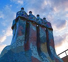 Sunset Colored Chimneys - Impressions Of Barcelona by Georgia Mizuleva