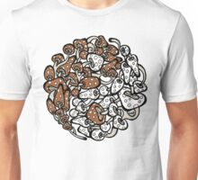 Yin Yang Mushrooms (brown-white version) Unisex T-Shirt