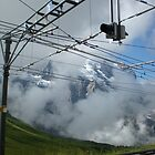 A cloudy day on the cog rail - Jungfrau Mountain by Cassie Wentworth